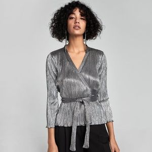 Zara Metallic Silver Wrap Top Size M
